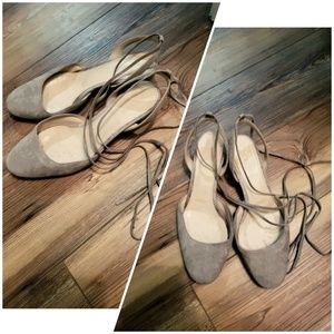 J.Crew tie up light Grey ballet flat 7.5 suede